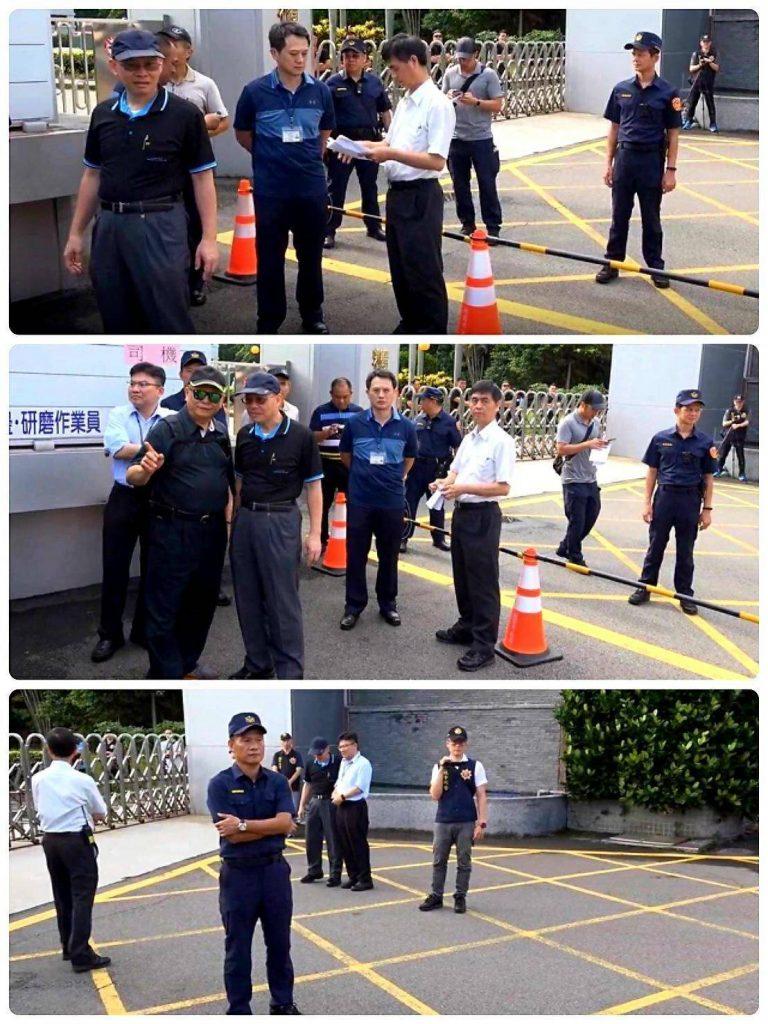 圖片說明:龜山分局長帶隊,圍成警戒,不讓欣隆公司進入。(記者葉鈞宇翻攝)
