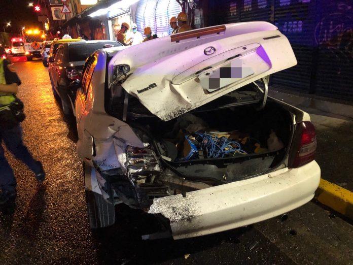 圖片說明:臺北市大同區今(14)日凌晨發生一起交通事故。(記者林艷林翻攝)